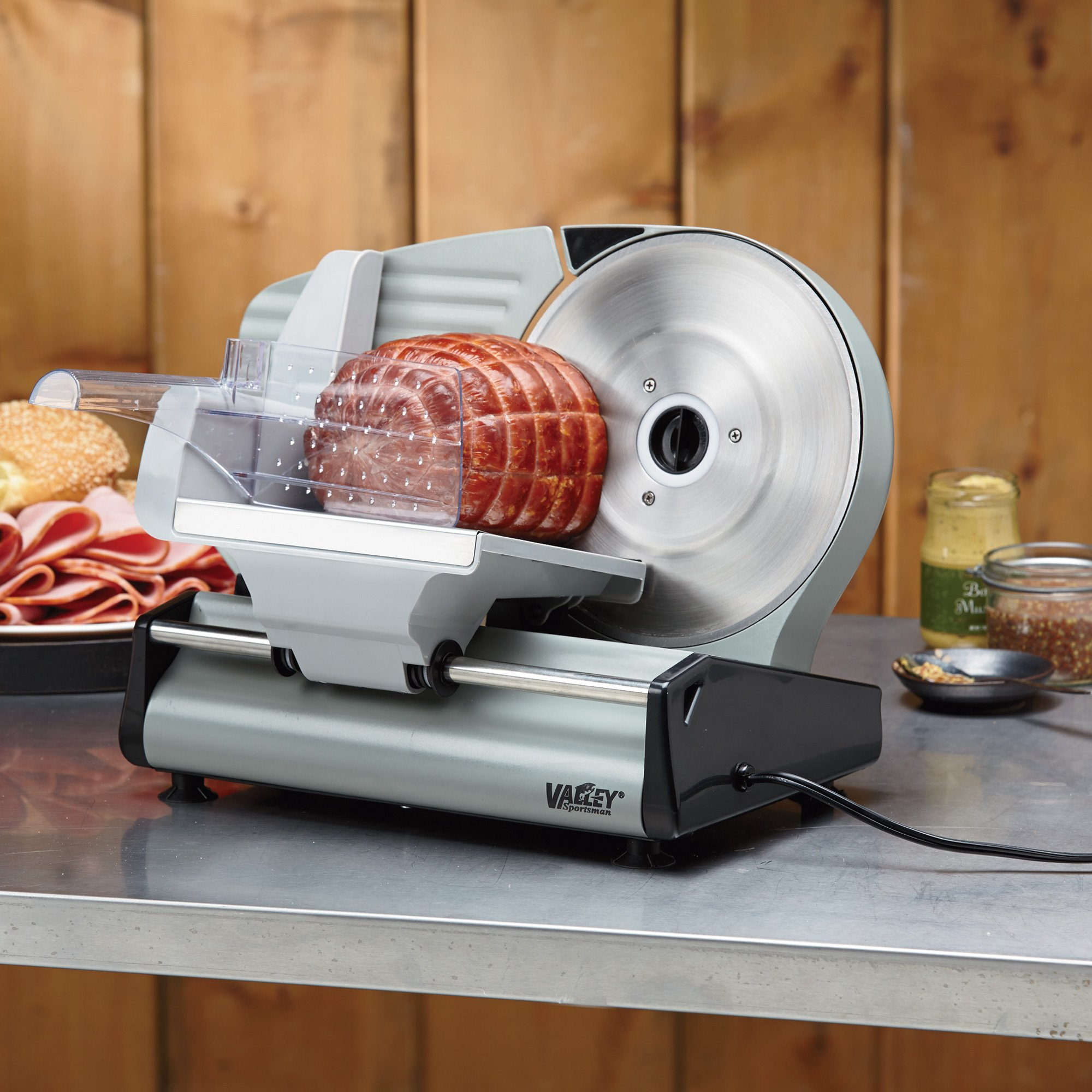 8.7in. Stainless Steel Electric Food Slicer - Suddenly Your Kitchen is a Deli by Valley Sportsman