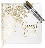 Lemon Sherbet Wedding Guest Book - Photo Album Sign in - with Gold Foil & Gilded Edges - Hard Cover Book with Thick…