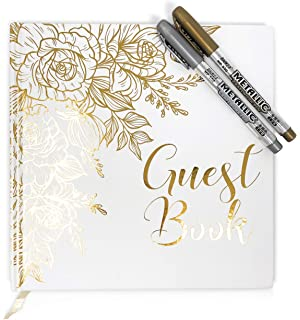 Personalised Wedding Guest Book Elegant Ivory Glitter Sparkle Border GuestBook Champagne Gold