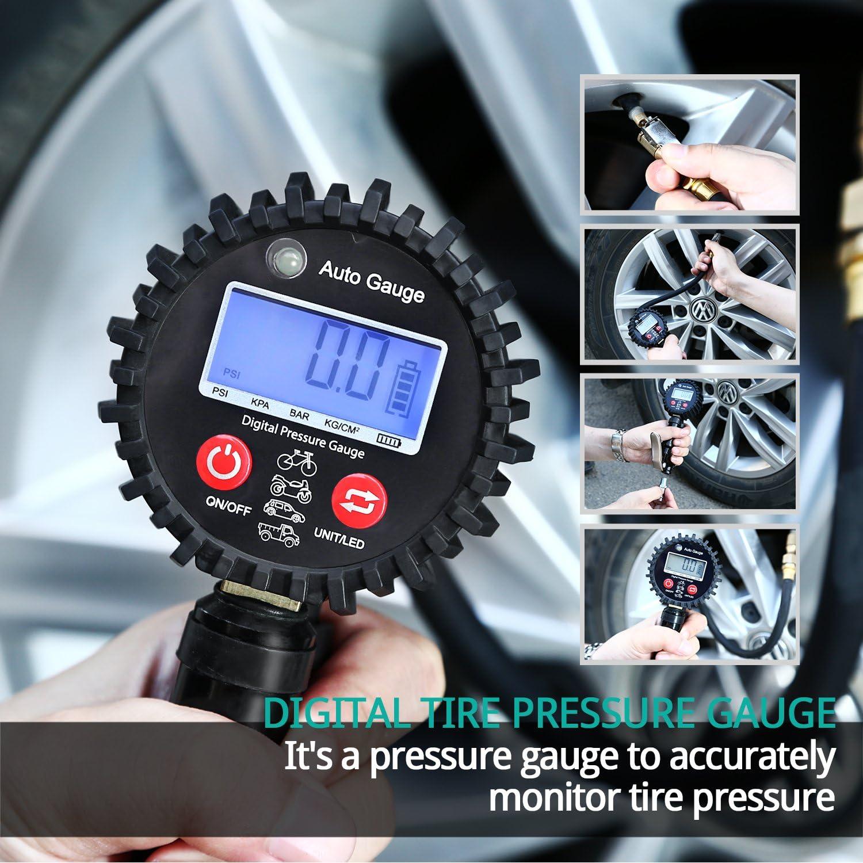 PINH-lang Manometer,0-200PSI Digital Reifen Luftdruckpr/üfer LCD Manometer Auto LKW Motorrad