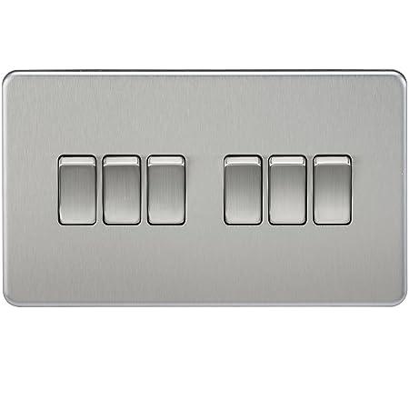 Knightsbridge SF4200BC Screwless 10 A 6Gang 2 Way Switch Brushed