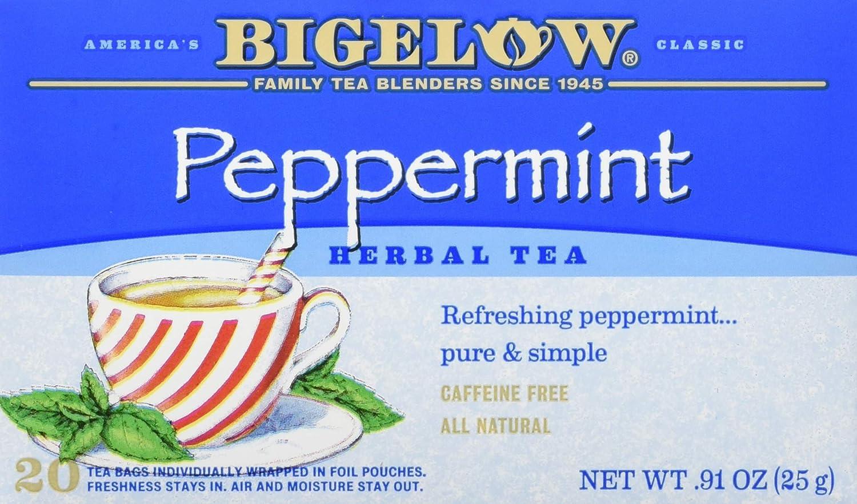 Bigelow Peppermint Herbal Tea Bags, 20 Count Box (Pack of 6) Caffeine Free Herbal Tea, 120 Tea Bags Total