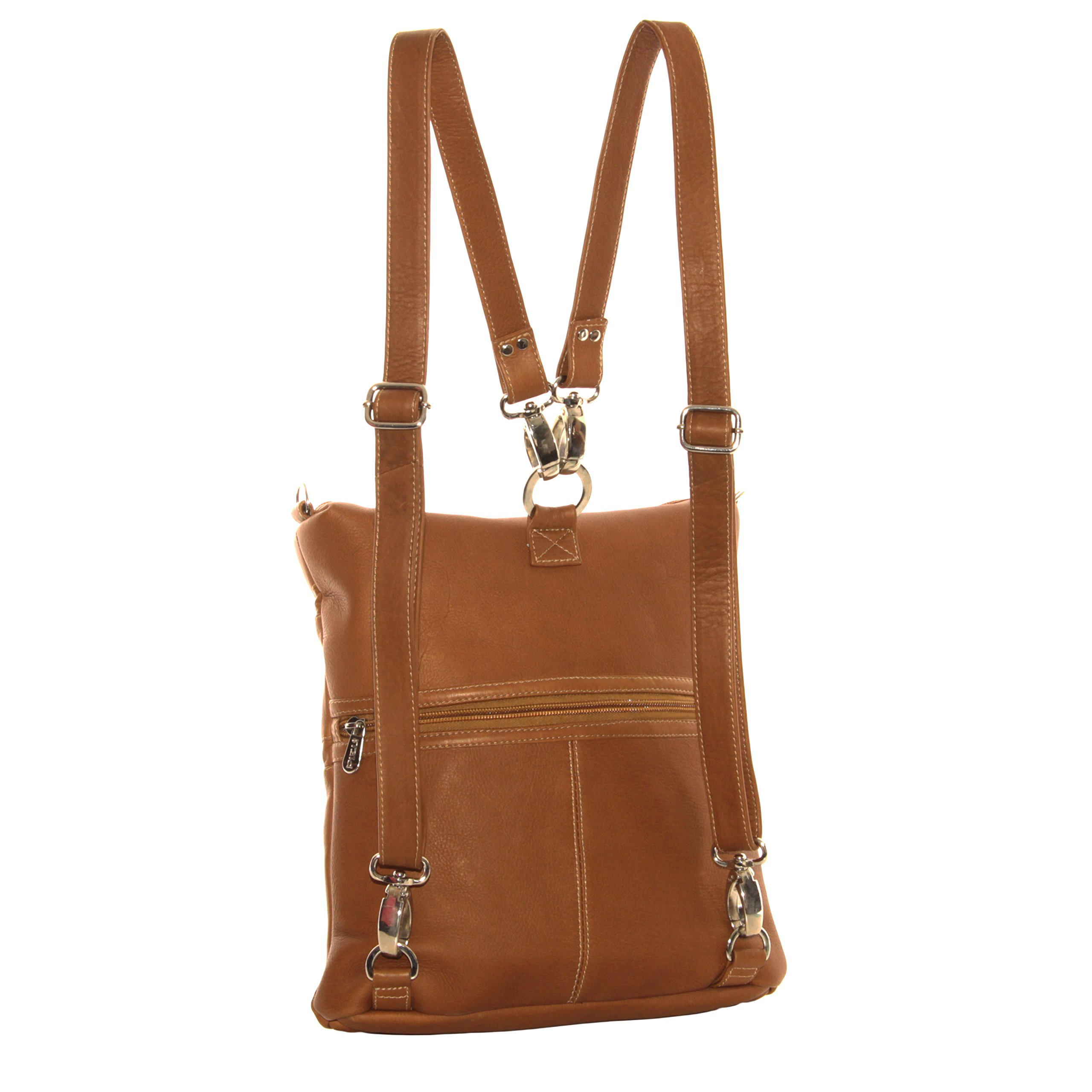 Piel Leather Convertible Multi-Pocket Shoulder Bag Backpack, Saddle, One Size