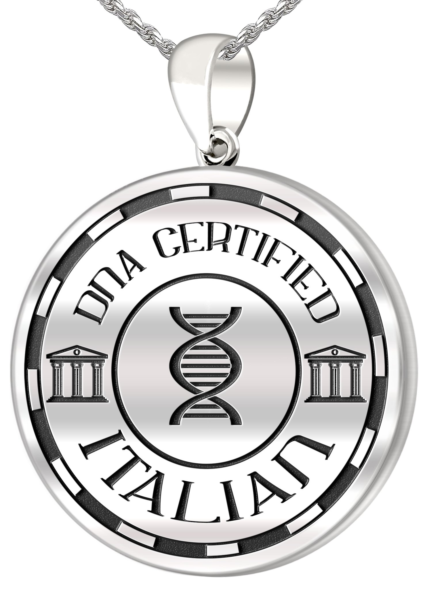 0.925 Sterling Silver 1in DNA Certified Italian Heritage Pendant Medal with Flag 2.3mm Rope Necklace, 24''
