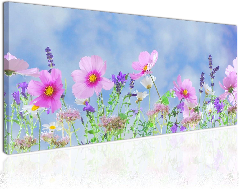 Topquadro Cuadro XXL sobre Lienzo, Imagen Panorámica 100x50cm, Flores de Color Lila y Lavanda - Decoraciones Florales - Decoración de Pared, Imagen Panorámica - Una Pieza