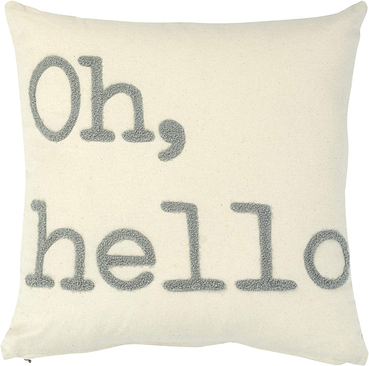 Amazon Com Creative Co Op Oh Hello Embroidered Square Cotton Pillow Grey Home Kitchen