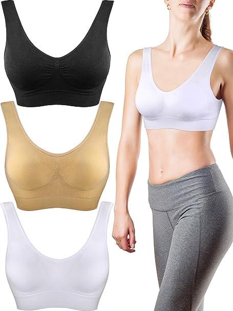 Patelai 3 Pieces Seamless Comfortable Yoga Bra, Sports Bras ...