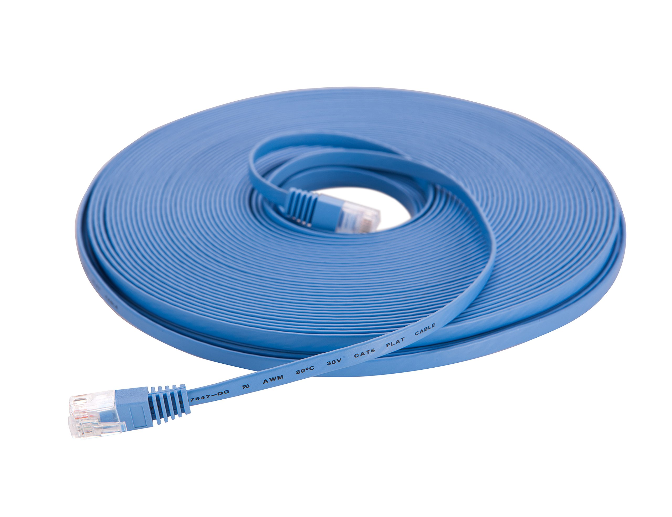 Pan-International P173A-17 Cat6 UTP Ethernet Cable 100ft- Flat Internet Network Cable - With RJ45 Connectors-100 Feet (30 Meters), Blue