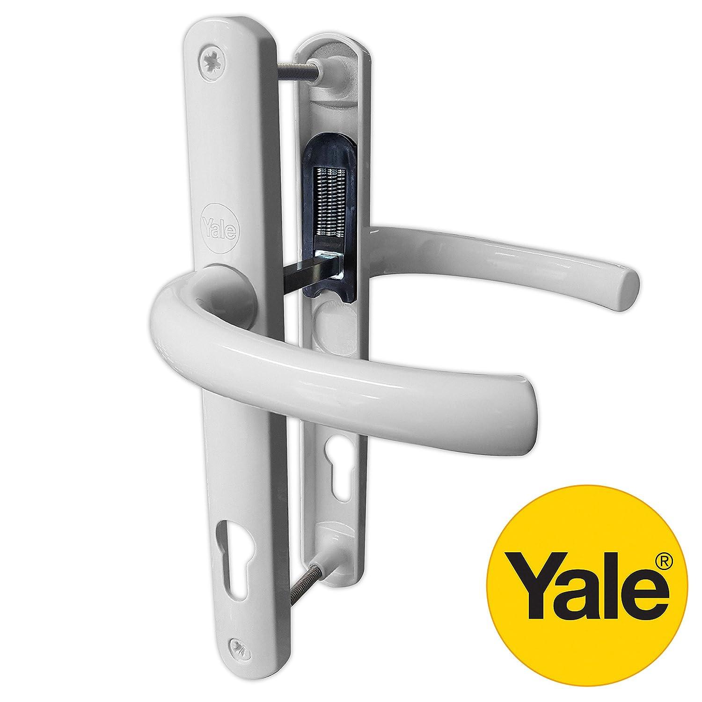 Yale PVC Poignée de porte à levier de Paire PZ 92mm 215mm Fixations Blanc Y2G-SSLL-WH
