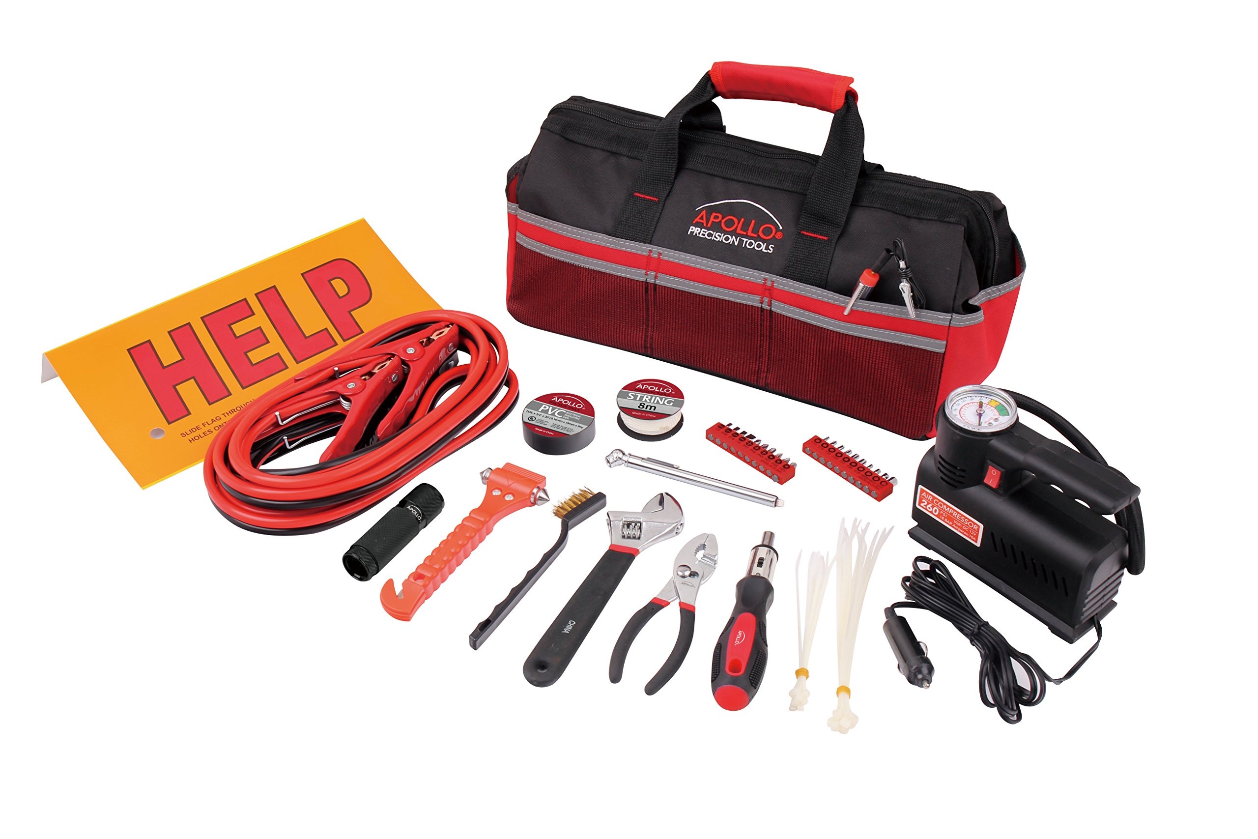 Apollo Precision Tools DT9771 Roadside Took Kit in Soft Sided Bag, Includes Air Compressor, 53-Piece