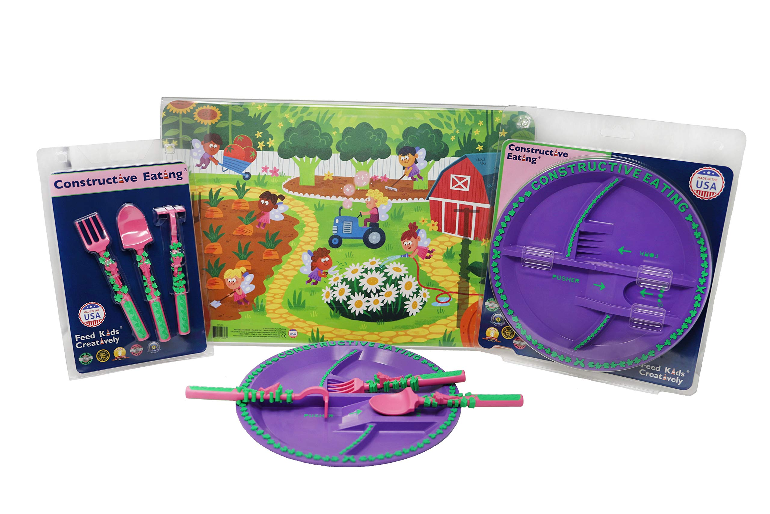 Constructive Eating Garden Fairy Combo with Utensil Set, Plate and Placemat for Toddlers, Babies and Kids - Flatware Toys are Made in The USA with FDA Approved Materials for Safe and Fun Eating by Constructive Eating