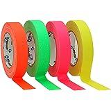 ProTapes/Permacel Gaff - Nastro adesivo in tessuto impermeabile fluorescente, 24 mm x 23 m Verde/Arancione/Rosa/Giallo