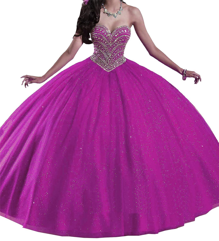 Fuchsia Yang Sweetheart Girls 15 16 Ball Gowns Women Sequins Floor Length Quinceanera Dresses