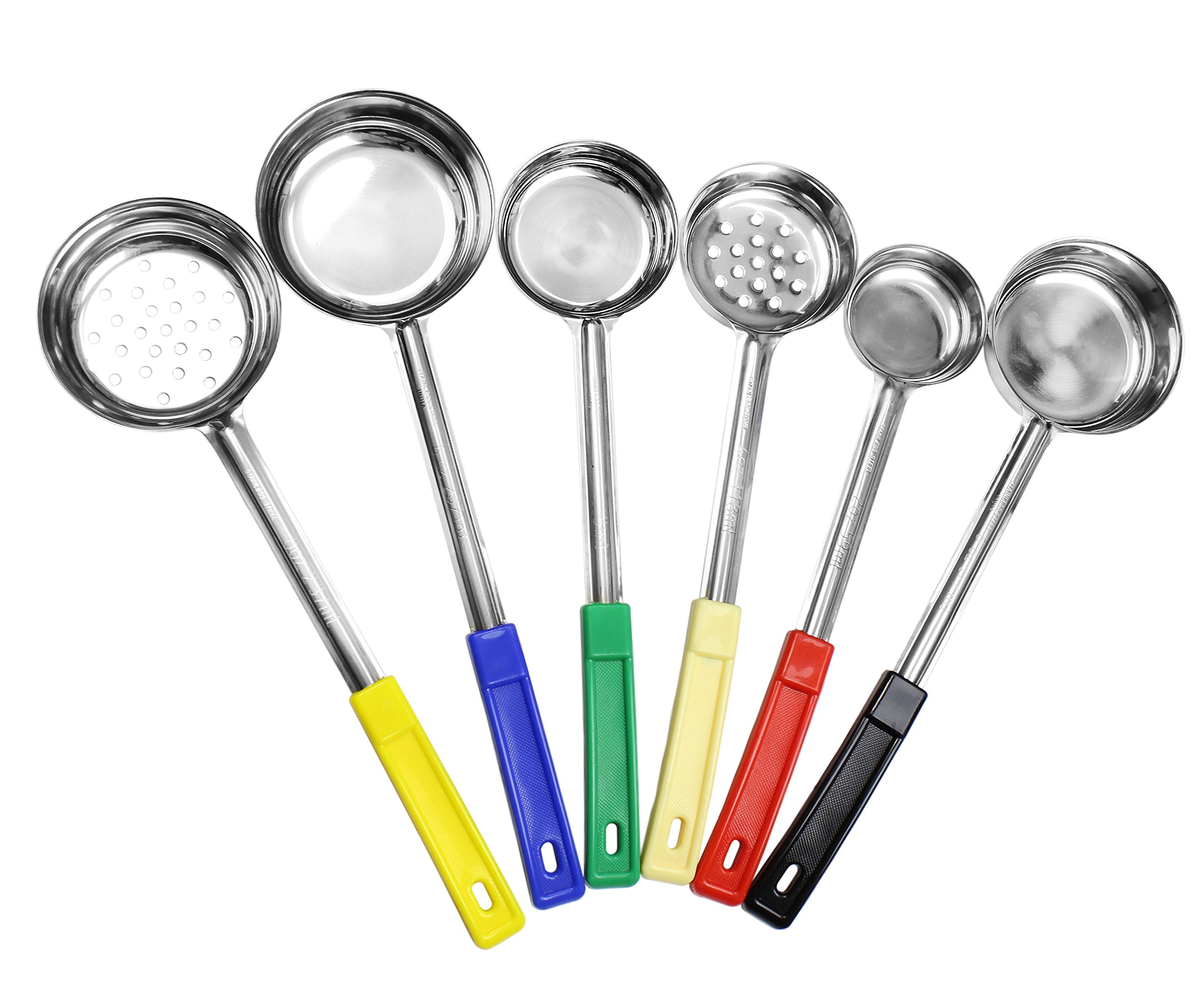 Portion Control Serving Spoons (6-Piece Ladle Set); w 1/4 Cup, 1/2 Cup, 3/4 Cup & 1 Cup (2, 4, 6, 8-Ounce) & Slotted 1/2 & 1 Cup Utensils/Spoodles