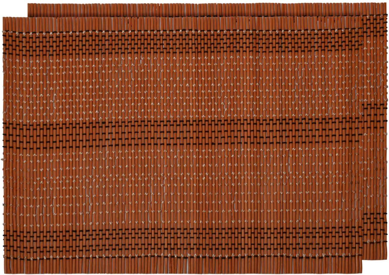 Alsino Set de Table 2 pi/èces en Bambou Marron 30 x 40 cm Rectangulaire Lavable Ecologique R/ésistant /à la Chaleur D/écoration Naturelle et Moderne Tapis BTS-100