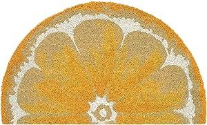 """Liora Manne NTRH1202409 Natura Summer Fruit Lemon Yellow Outdoor Welcome Coir Door Mat, 1'6"""" x 2'6"""" 1/2 Round"""