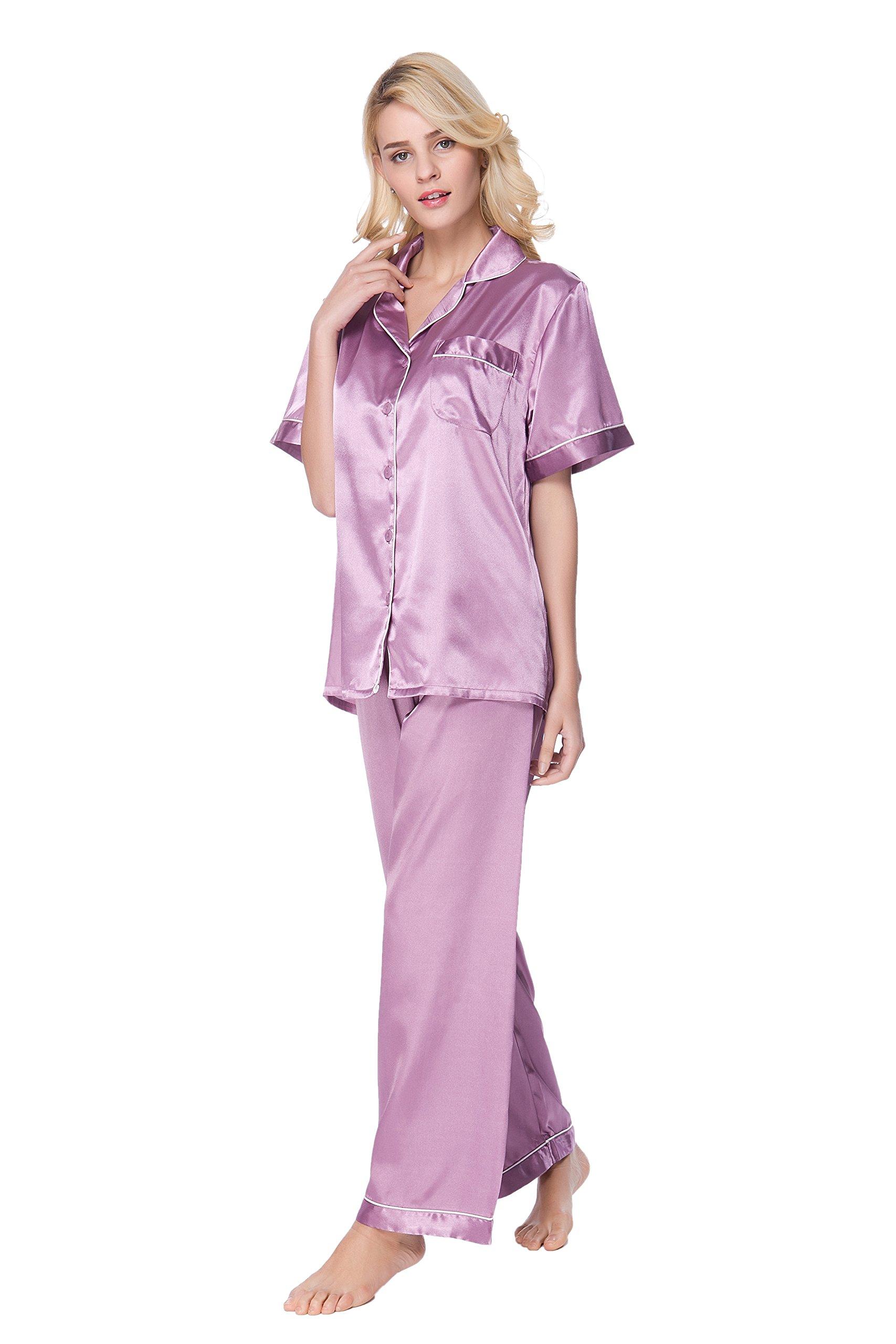 Lavenderi Women's Short Sleeve Classtic Satin Pajama Set