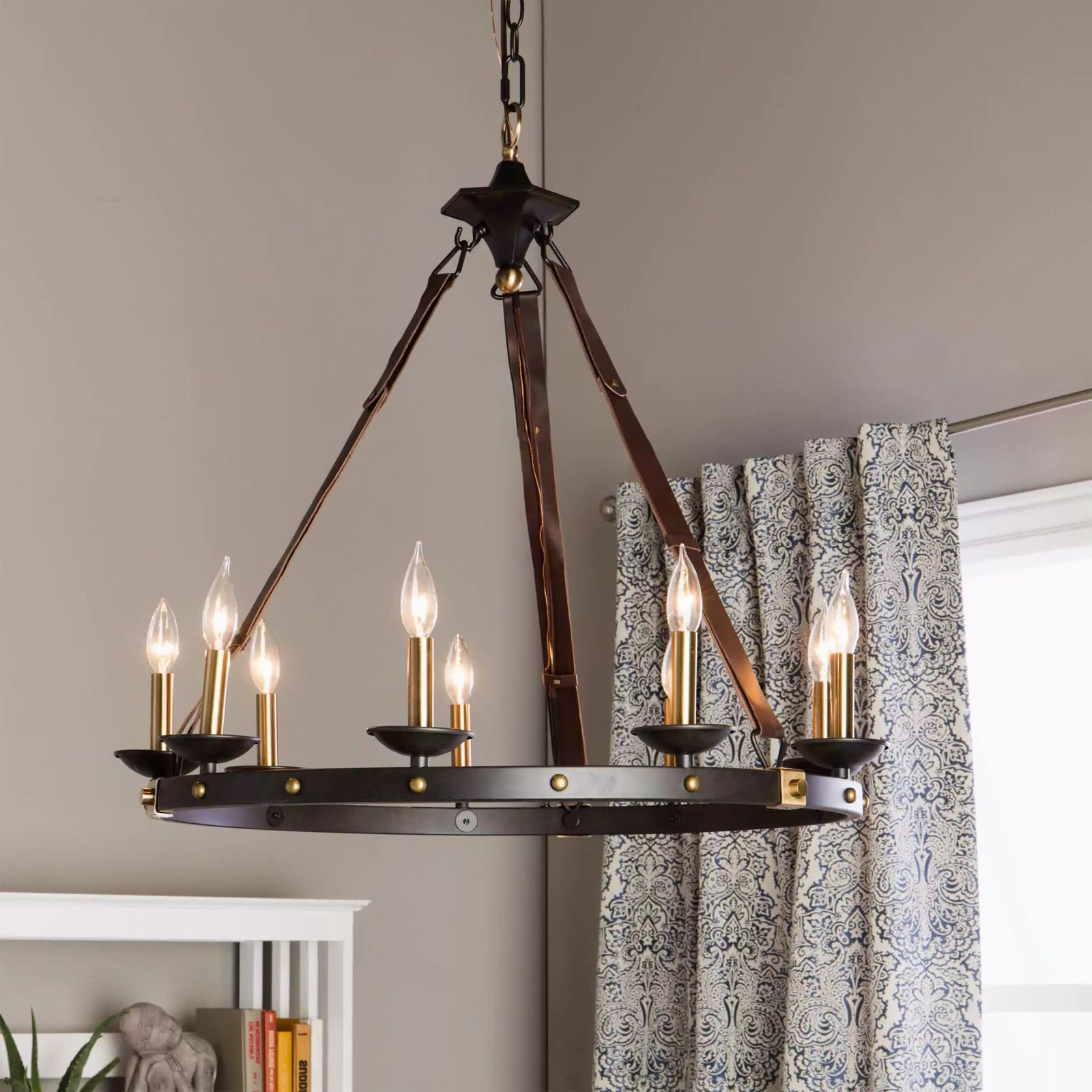 Rustic Chandelier Lighting Great For High And Low Ceiling Rooms. Circular Round Fixture Provides Warm Multidirectional Light. Candle Style Modern Farmhouse 29'' Hanging Lamp Invites Timeless Atmosphere by MFR Light Fixtures