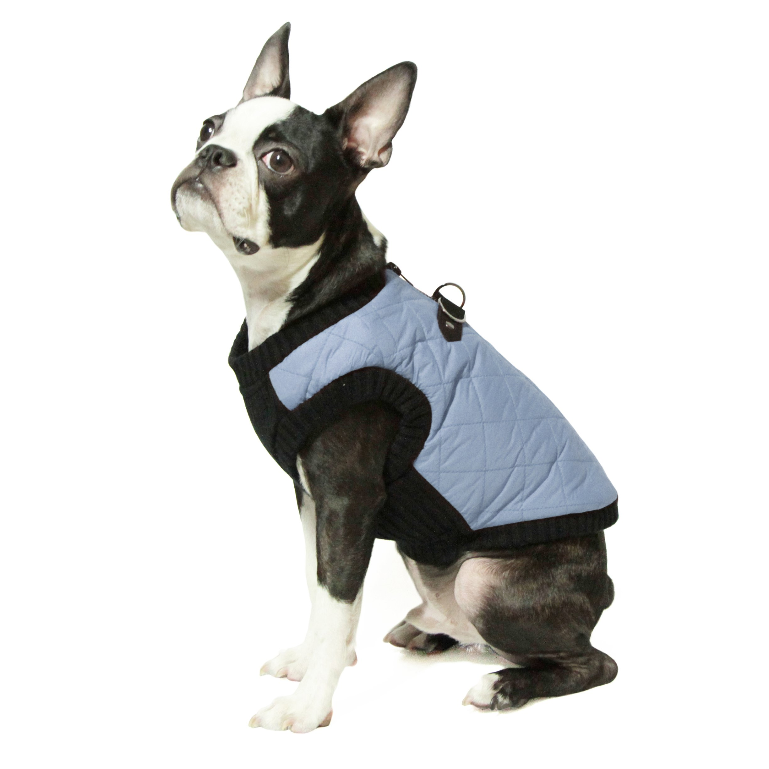 Gooby - Fashion Vest, Small Dog Sweater Bomber Jacket Coat with Stretchable Chest, Gray, Small
