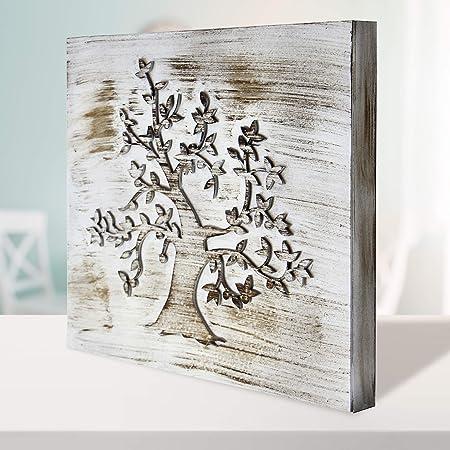Cuadro Mandala de Pared - árbol de la Vida Calada, Fabricada artesanalmente en España- Mandala 3D Cuadrada Pintada a Mano- Modelo Mosaico 212 (Blanco Envejecido, 30x30cm): Amazon.es: Hogar