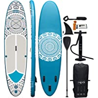 """HIKS Paddle Board Tribal 11'2"""" Inflatable SUP Set for all Abilities Ideal for Beginners Includes Paddle, Pump, Backpack, Leash. Paddleboard Kit"""