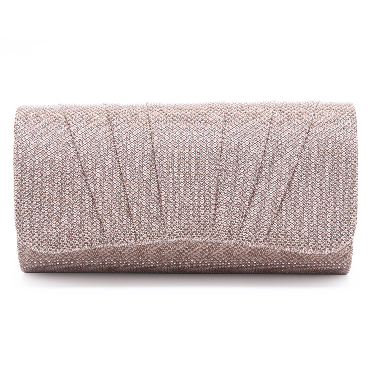 Damara Womens Perfectly Pleated Clutch Party bags (Champagne)