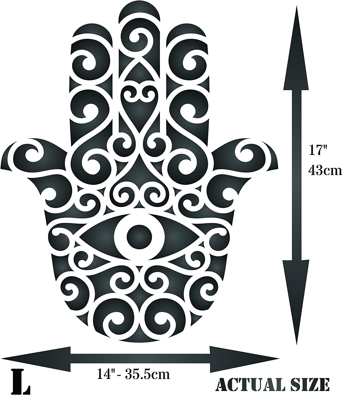 DIY Mandala Hamsa Stencil Template for Scrapbooking Painting on Wall Furniture Crafts A2 Size
