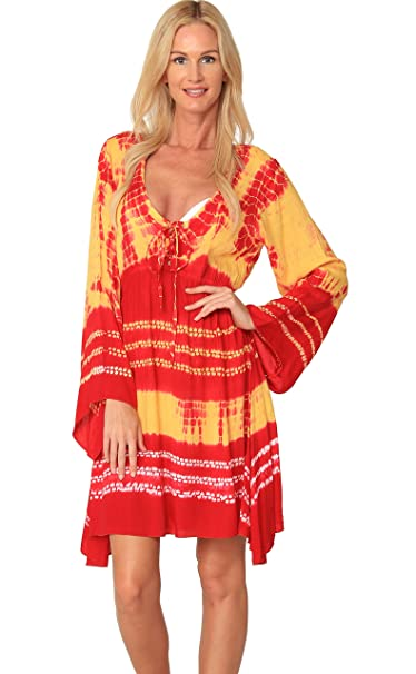 25800cd3632e6 INGEAR Tie Dye Dress Long Sleeve Bell Summer Loose Fashion Beachwear Cover  Up (Small, Orange) at Amazon Women's Clothing store: