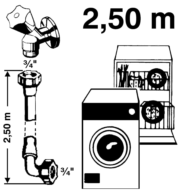 Sanitop-Wingenroth 17207 3 Ger/äteanschluss-Zuflaufschlauch f/ür Wasch 1//2 Zoll x 2000 mm 1//2 x 2000 mm und Sp/ülmaschinen
