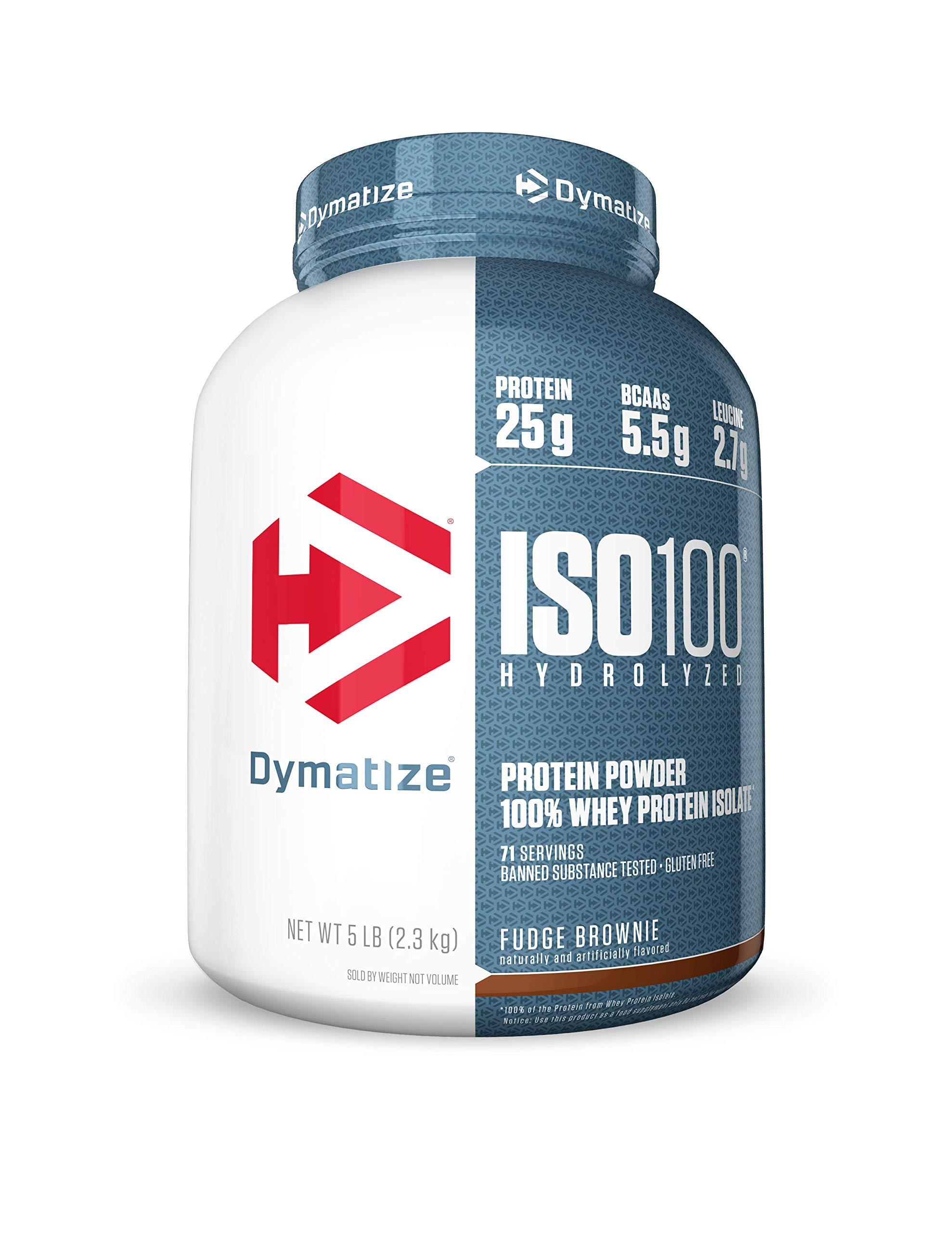 Dymatize ISO 100 Whey Protein Powder with 25g of Hydrolyzed 100% Whey Isolate, Gluten Free, Fast Digesting, Fudge Brownie, 5 Pound by Dymatize