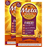 Metamucil Multi-Health Psyllium Fiber Supplement Powder with Real Sugar, Orange Flavored, 30 packets (Pack of 2)
