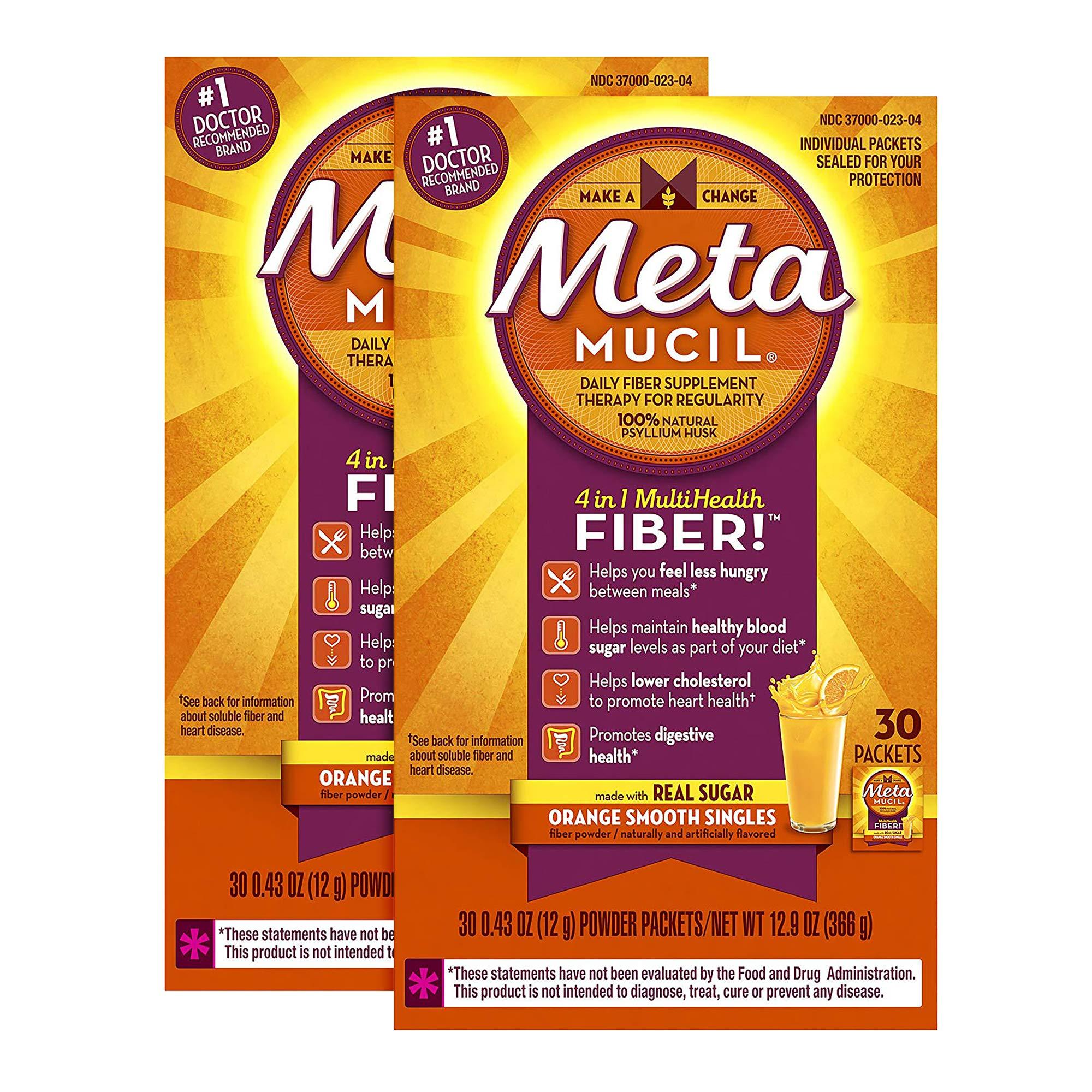 Metamucil Multi-Health Psyllium Fiber Supplement Powder with Real Sugar, Orange Flavored, 60 packets. (2x30 packets)