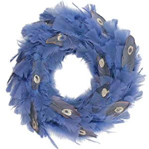 """Northlight 14"""" Regal Peacock Embellished Blue Feather Artificial Christmas Wreath - Unlit"""