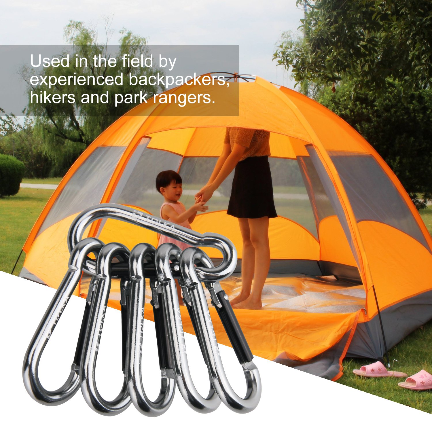Light Durable Round Shape Nonlocking 3 Caribeaner Hook Buckle for Outdoor Camping Key Chain Ring Hiking Fishing TOLKA 6 Pack Aluminum Carabiner Keychain Clip with Keyring