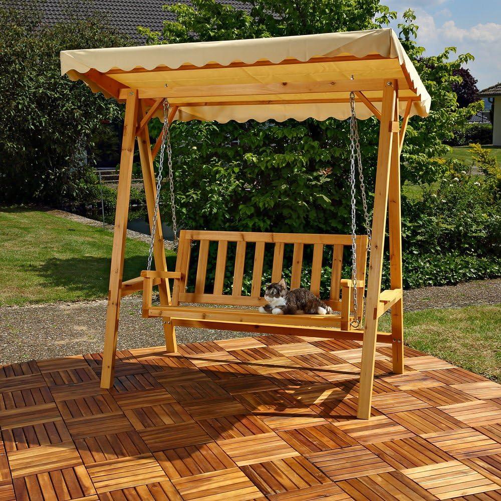 CRAVOG banco de madera al aire libre – Hamaca asiento con dosel: Amazon.es: Jardín