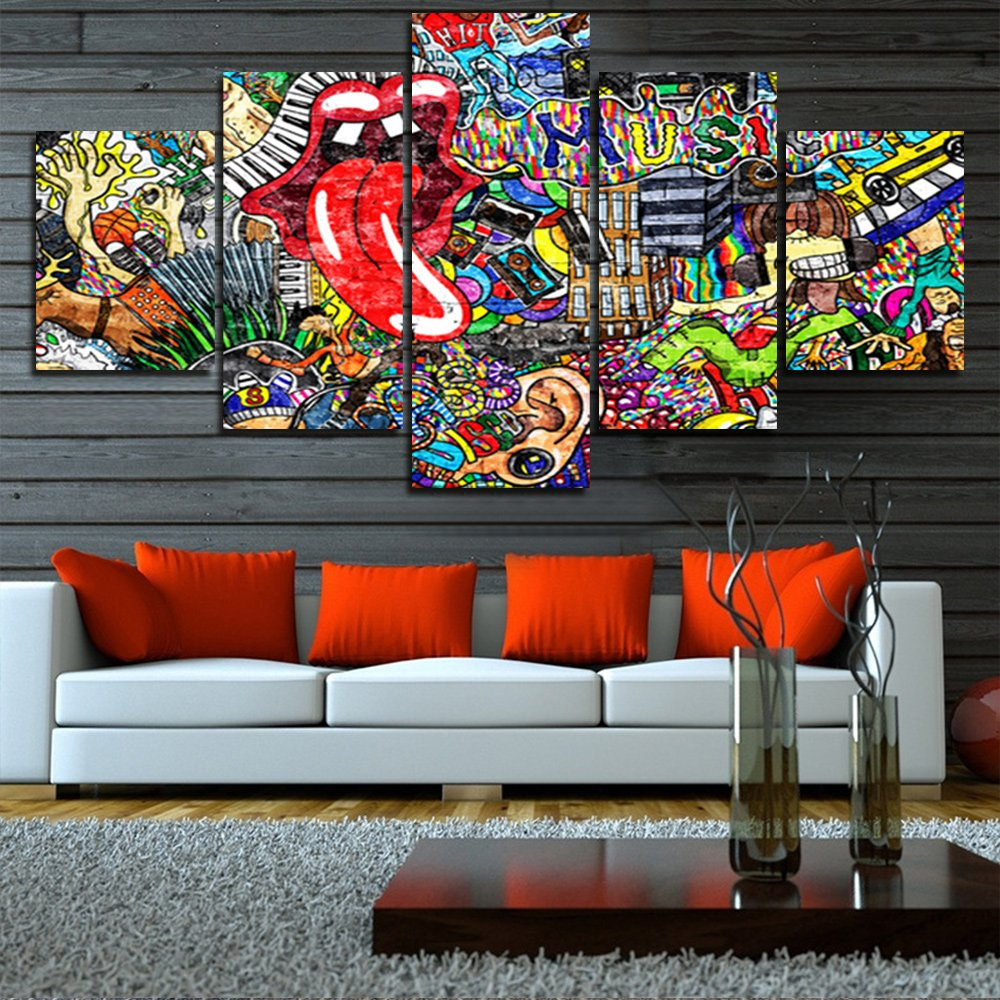 Graffiti Paintings Canvas Colorful Wall Art Living Room Decor 5 Panel Pictures Music Collage on Brick Wall Contemporary Home Decor Modern Artwork Posters and Prints Framed Ready to Hang(60''Wx32''H)
