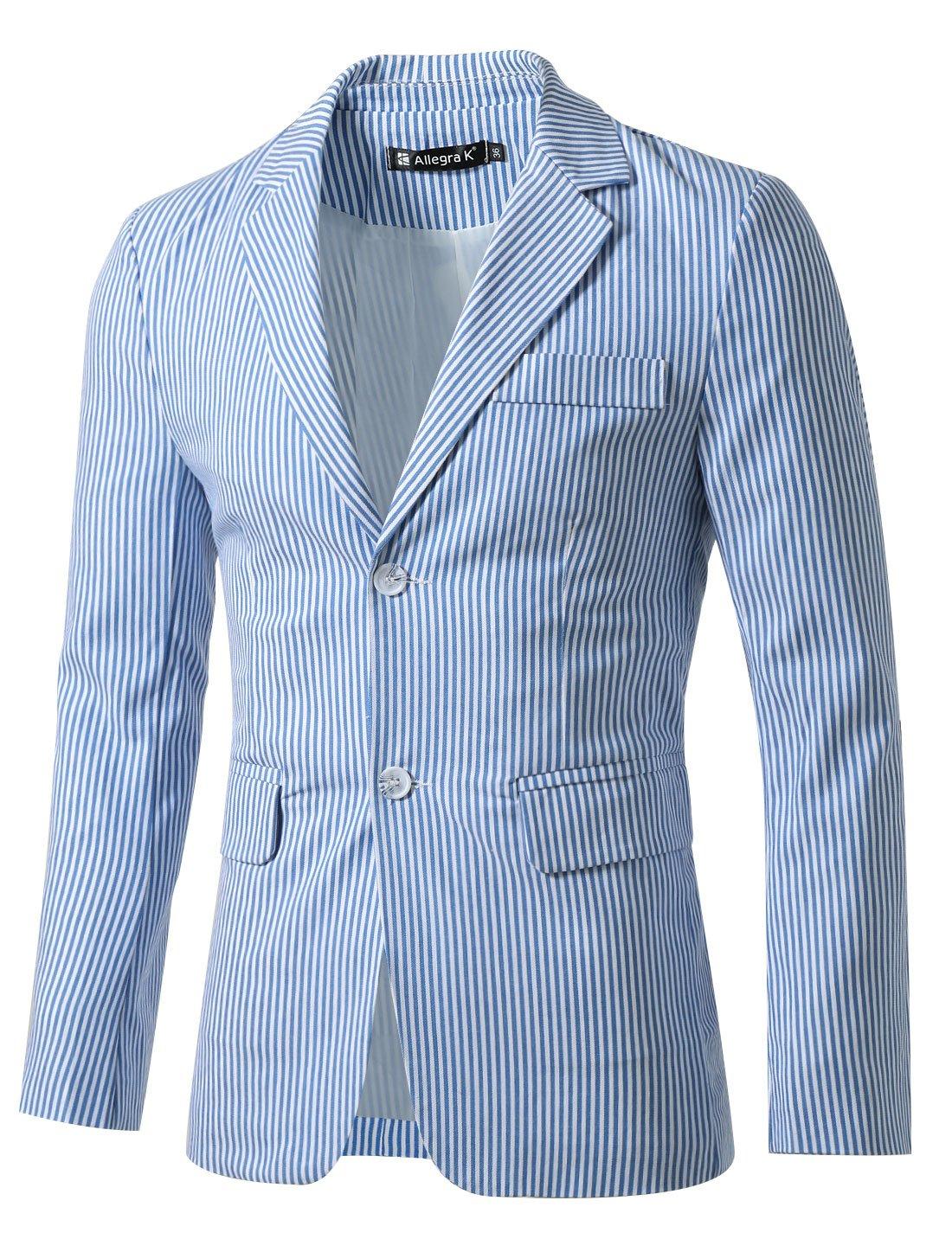 Allegra K Uomo strisce verticali intagliate bavero Manica lunga casual blazer blu bianco S Sourcingmap