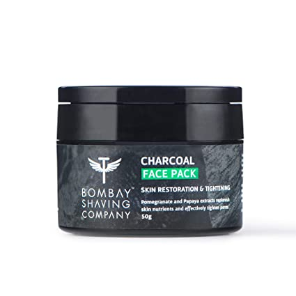 Bombay Shaving Company Charcoal Face Pack Anti-Pollution & Anti- Blackhead, No Parabens, Wash Off Face Mask, Black, 50 g