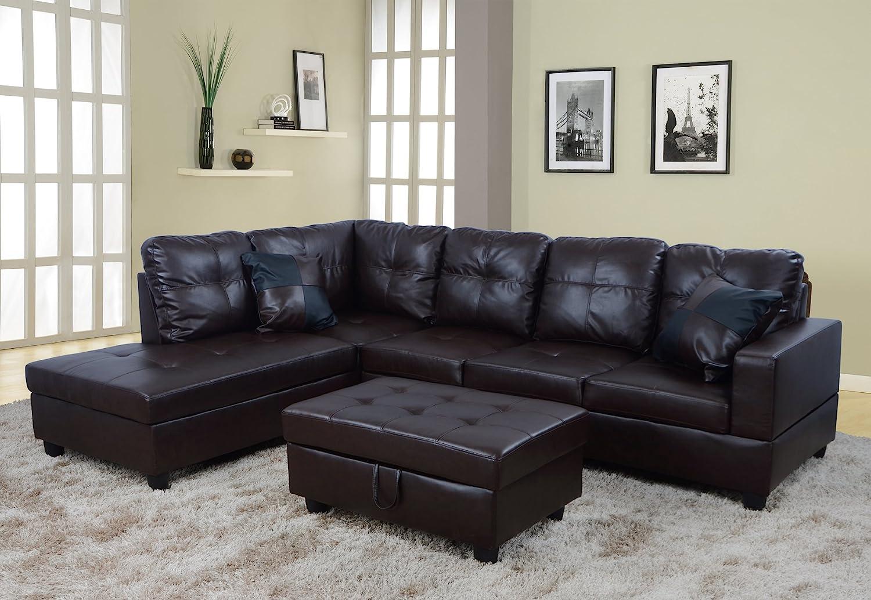 Amazon Com Lifestyle Furniture Left Facing 3pc Sectional Sofa Set