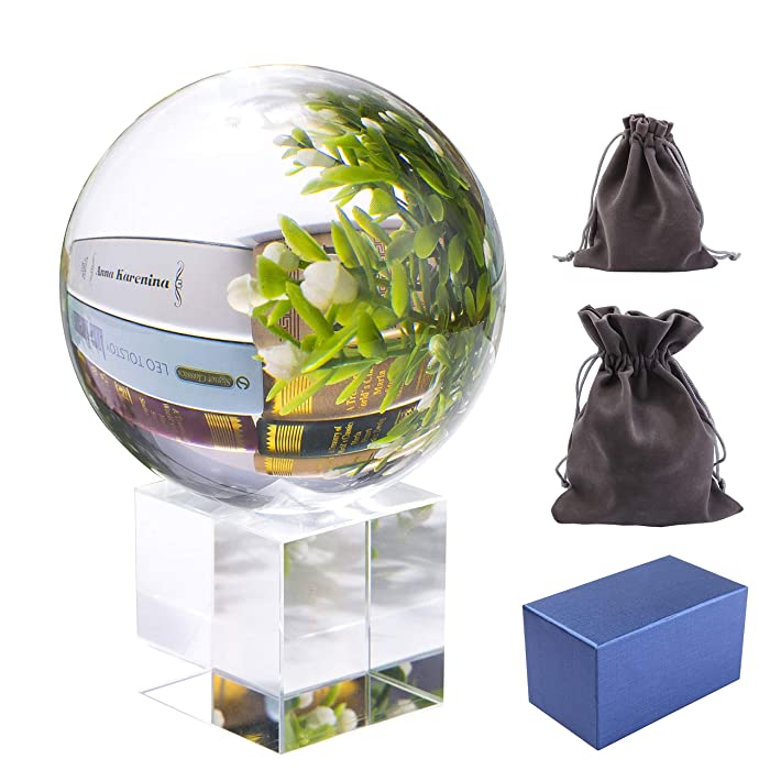 Pedobo Clear Crystal Ball 3.15 inch (80mm) K9 Crystal Suncatchers Ball with Crystal Stand Flannelette Bags and Gift Box for Photography Decoration