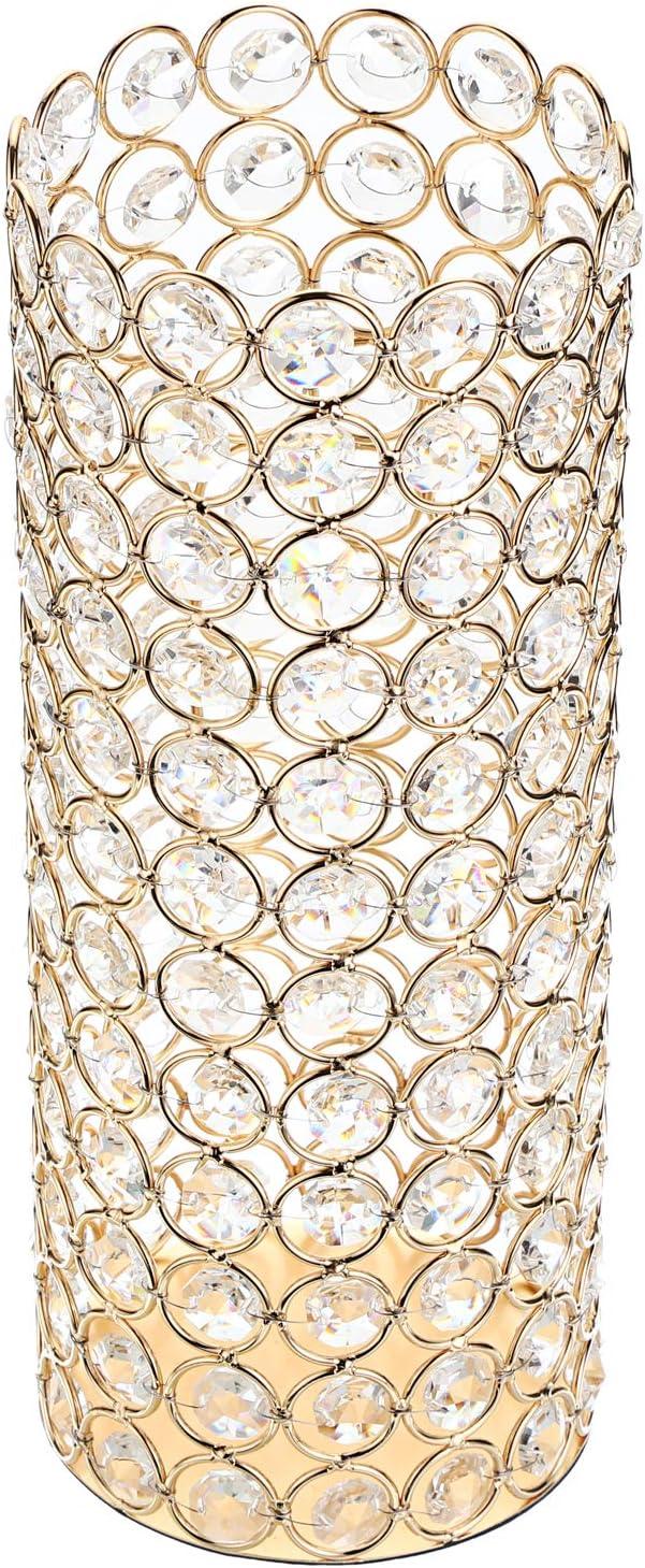 OwnMy Crystal Bowl Votive Tea Light Holder Pillar Candle Holder Decorative Cylinder Flower Vases for Artificial Bouquet, Decor Candelabra Vase Candle Centerpieces for Wedding Dining Table Room, Golden