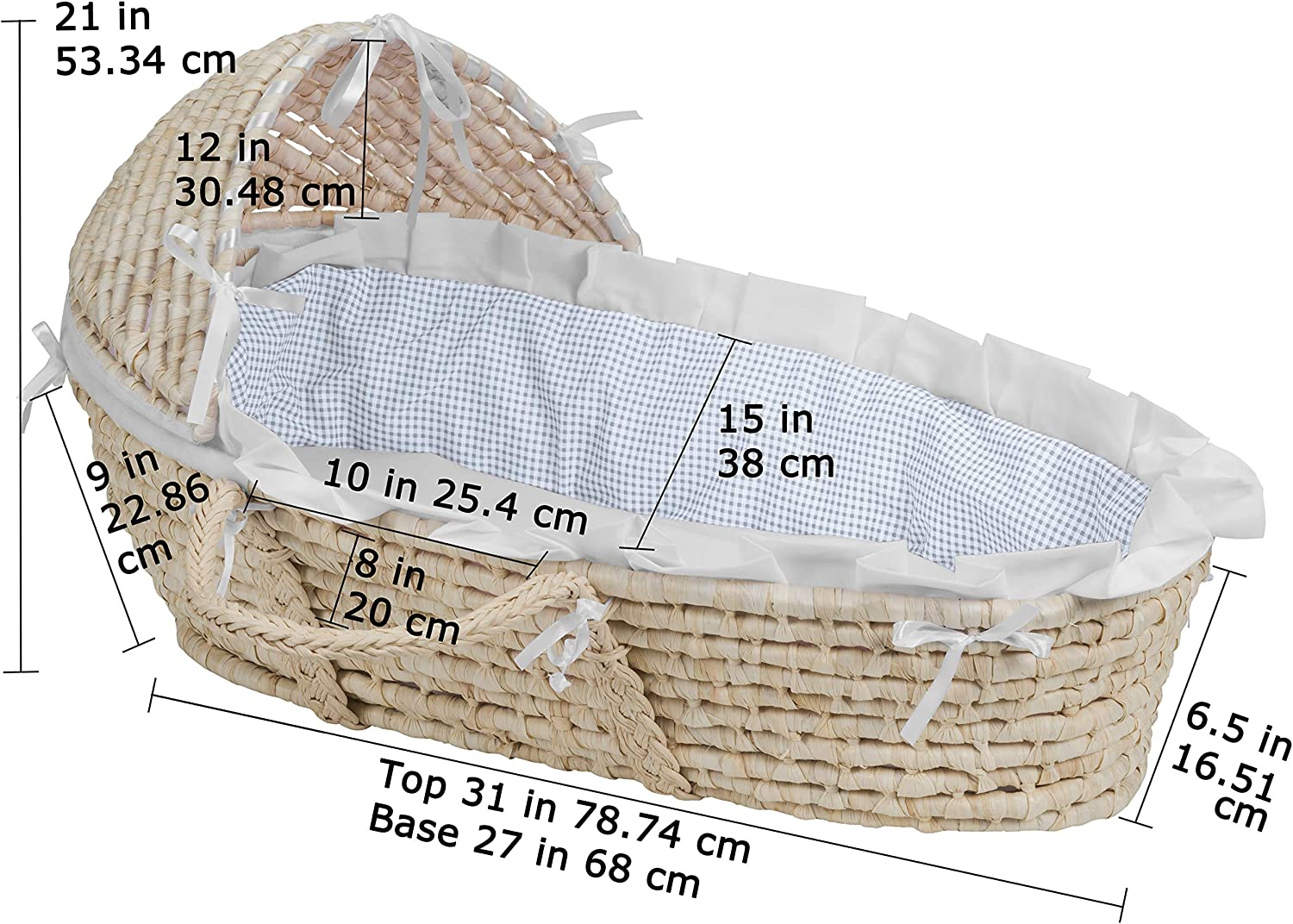 Pink Gingham Bedding Badger Basket Company Natural Baby Moses Basket with Hood