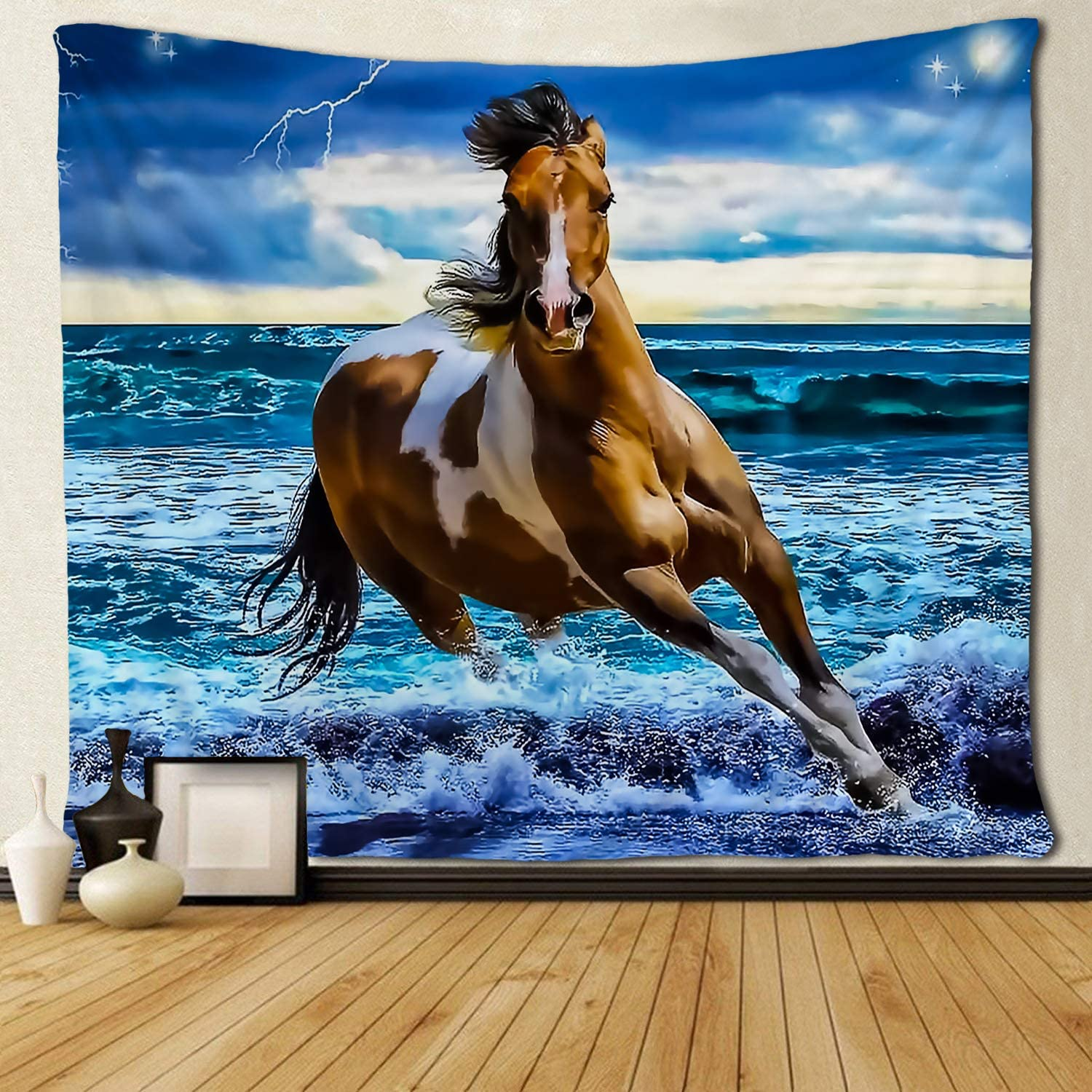 SARA NELL Tapestry Horse Running On The Beach Tapestries Wall Hanging Hippie Art Home Decoration College Dorm Decor for Living Room Bedroom 60x90 Inches