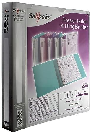 Snopake Presentation Ringbinder - Archivador con 4 anillas, A4, lomo 40 mm: Amazon.es: Oficina y papelería
