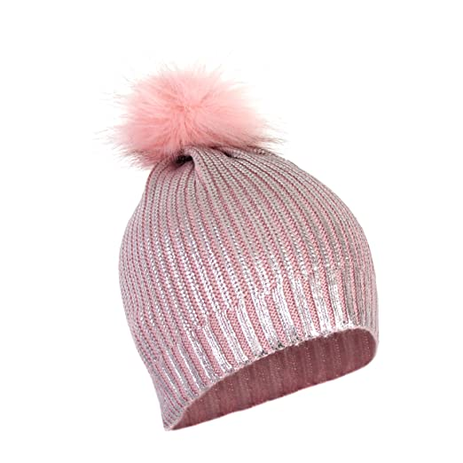 714a611a708 Girls Metallic Stretch Winter Beanie and Sparkle Shiny Foil Holographic Knit  Hat w Fur Pom