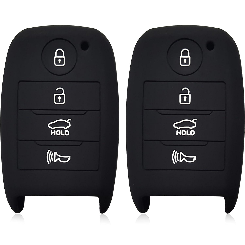 ドブレフ4ボタンシリコンケースキーFobプロテクターカバースマート車リモートホルダーfor Kia Optima ForteソレントR Rio ブラック 2121 B07B8XHQ9R black and black black and black