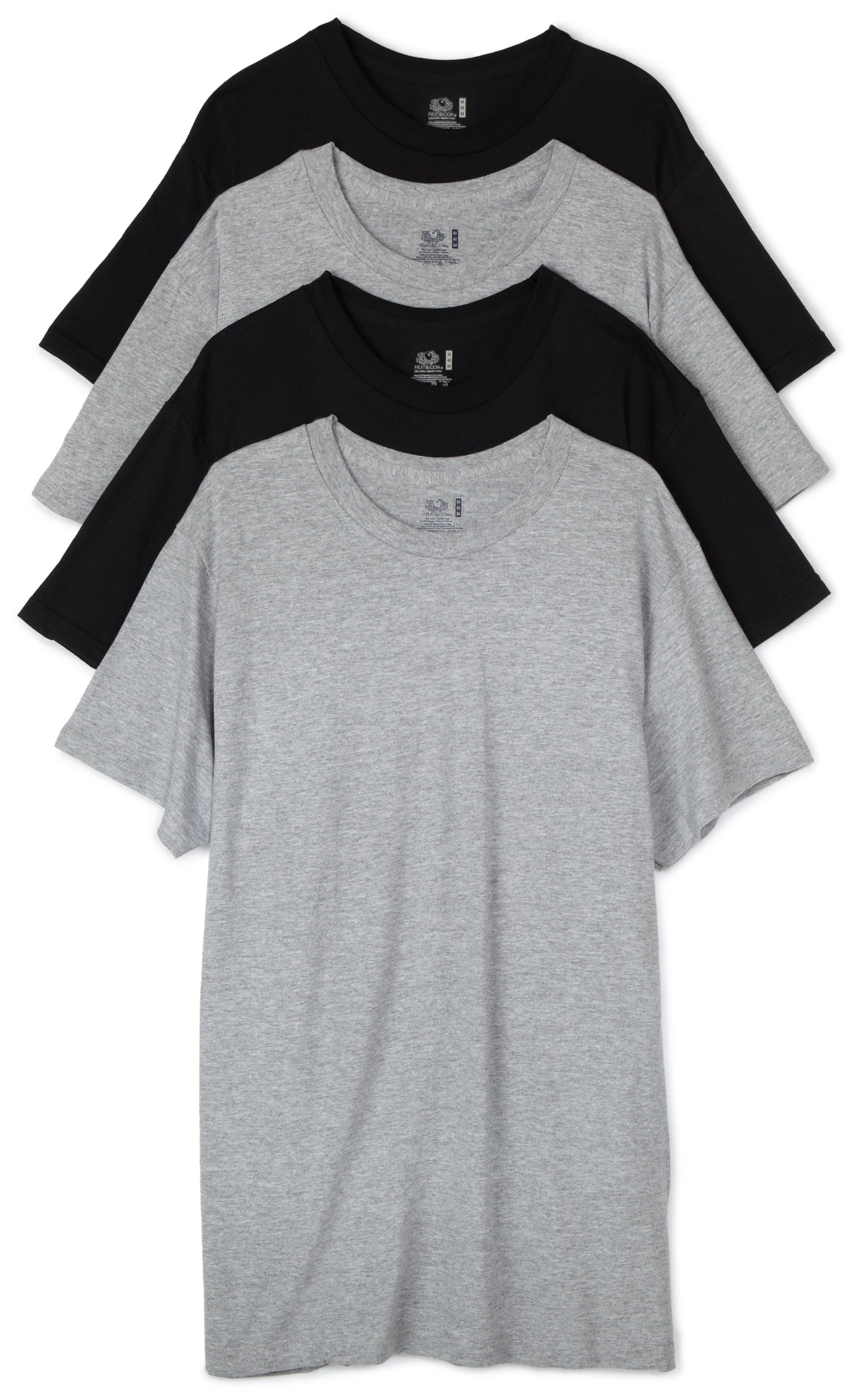 Fruit of the Loom Men's Crew Neck T-Shirt (Pack of 4), Black/Grey, Large