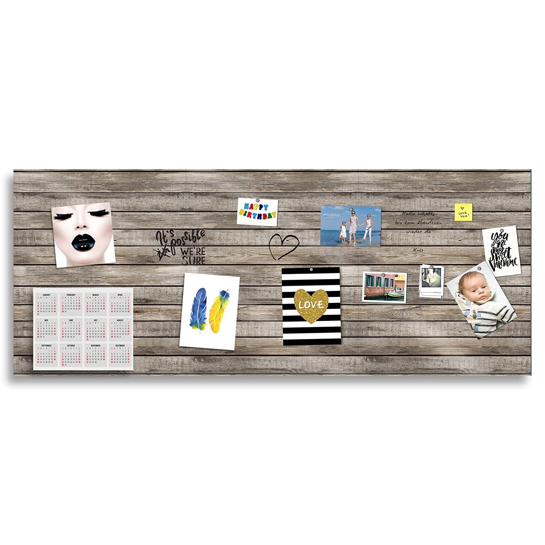 Boardmarker und 10 Supermagneten Cuadros Lifestyle Markerboard//Magnettafel//Whiteboard aus Acrylglas Holzoptik Verschiedene Gr/ö/ßen inkl Gr/ö/ße:70x50 cm