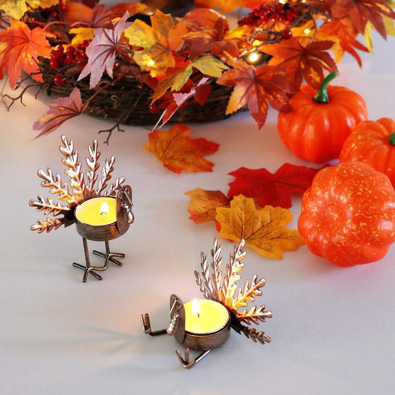 Kurala 6 Pack Metal Turkey Tea Light Candle Holders, Thanksgiving Decoration