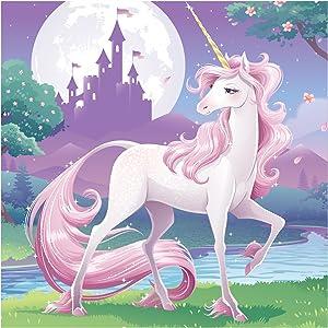 16-Count 3 Ply Paper Beverage Napkins, Unicorn Fantasy